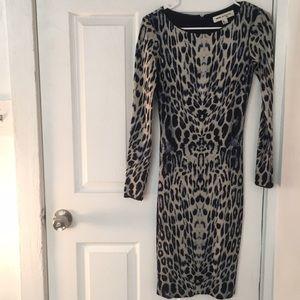 Reiss leopard print body con dress, size 0/2